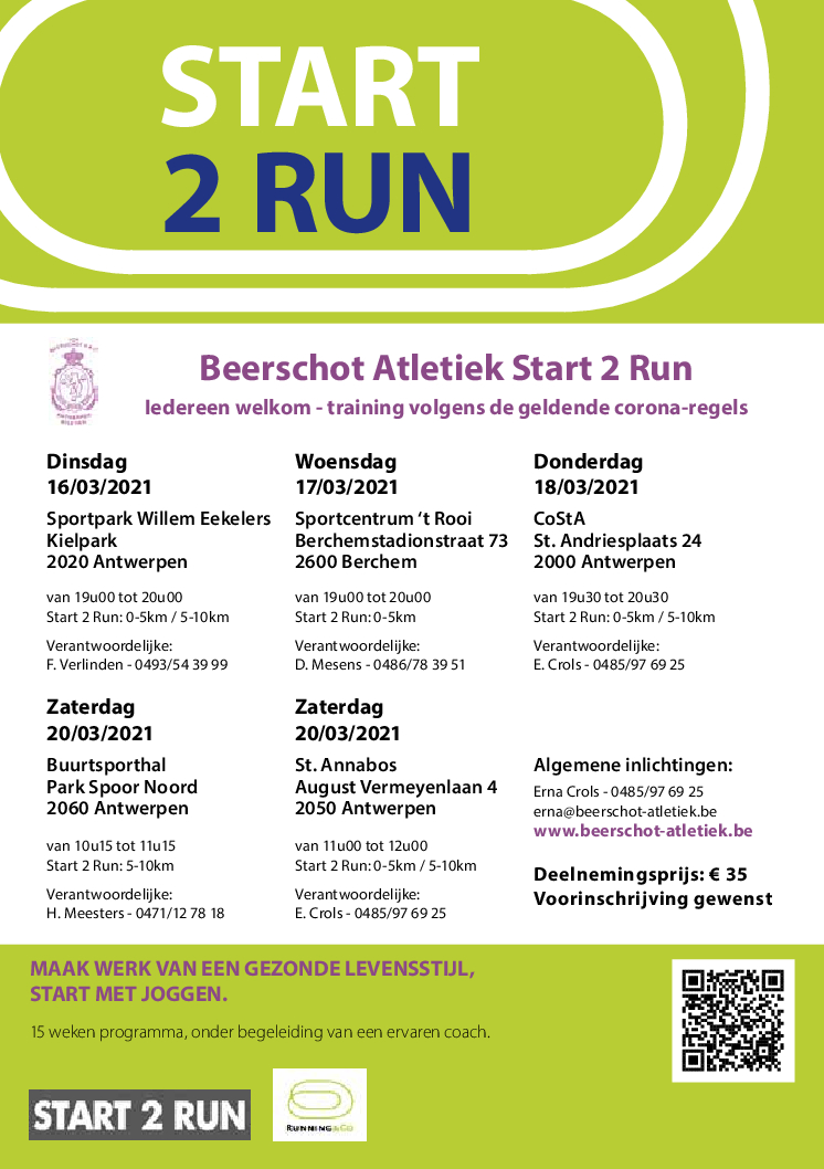 Op 16 maart starten we met een corona veilige Start to Run